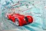 Alfa Romeo 6C. Oeuvre du peintre Michaux,huile.