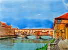 Le Ponte Vecchio A Florence - Oeuvre du peintre Michaux