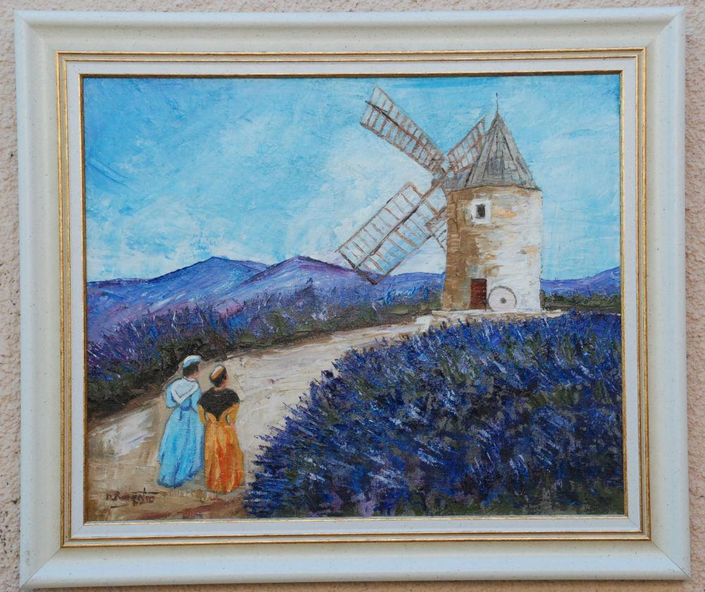 Daniel Bargeton - Moulin aux Lavandes - 56X48 - Huile