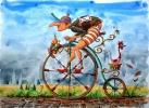 Le Cycliste Ecolo. Oeuvre du peintre Michaux, aquarelle.