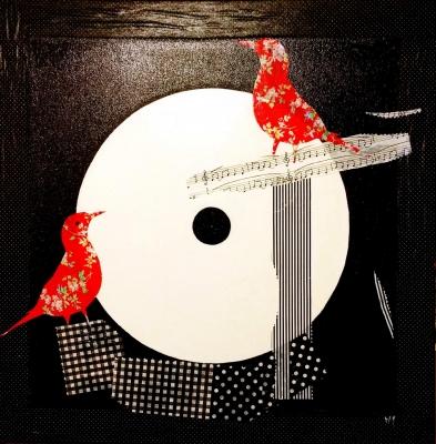 Red Birds - Marie-Martine - 60x60 cm