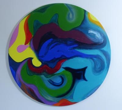 """Tombé du ciel"" peinture abstraite par Magda Hoibian. 2018"