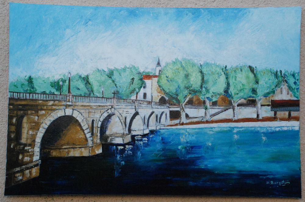 Daniel Bargeton - Pont romain - 92X60 - Huile