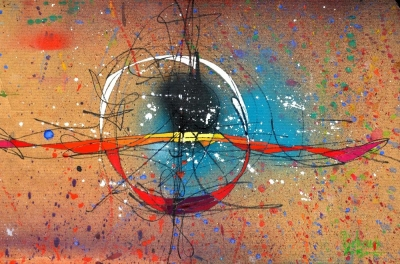 Abstraction 669. Oeuvre du peintre Michaux , gouache.