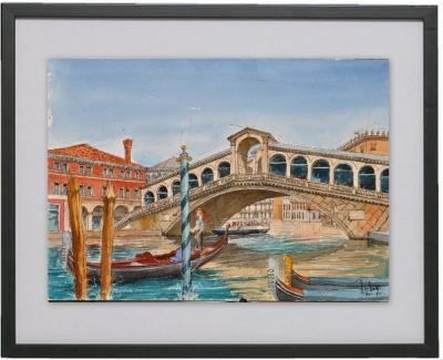 Le Rialto a Venise - oeuvre du peintre Michaux.