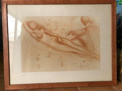 Lithographie Savador Dali Nu a la guitare  from the nude suite, 1970