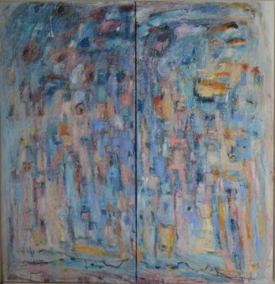 Mer en rose et bleu, diptyque-  Christine Ange Lefevre