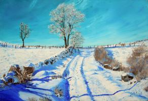 Paysage neige-73x50cm- Huile au couteau-G.pachet Micheneau