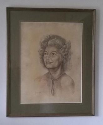 """Portrait """"femme au collier de perles"""" par Georges Hot (artiste côté)"""