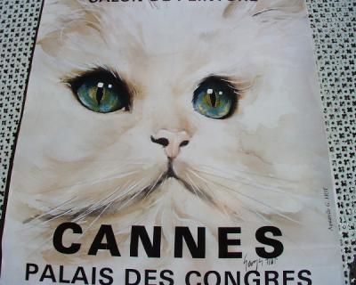Poster Affiche Exposition Internatinale Féline Cannes, affiche de Geor