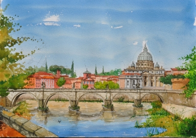 Rome, Le Pont Saint Ange - Oeuvre du peintre Michaux.